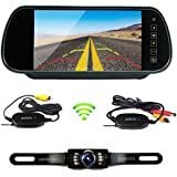 Podofo Wireless Car Backup Camera Parking System 7 LCD Touch Button Vehicle Rear View Mirror with Waterproof IR License Plate Camera