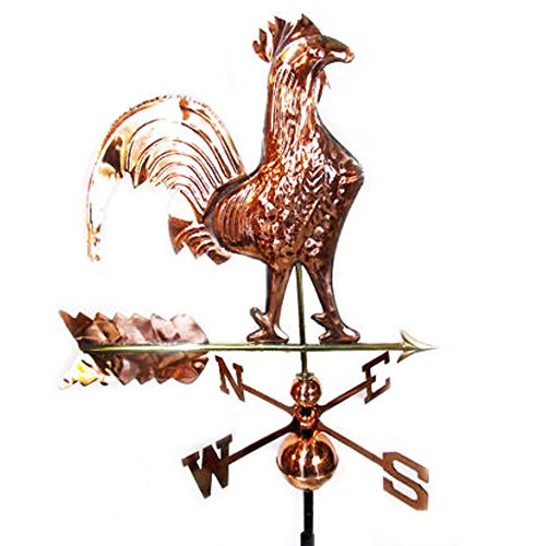 Rooster Outdoor Weathervane Copper polished Large Bird Weathervane Roof Mount (Large Steel Weathervane Roof Mount)