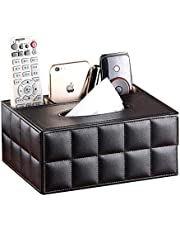 PU Leather Multifunction Tissue Box Cover Rectangular 3 Compartments Remote Control Holder Desk Organizer