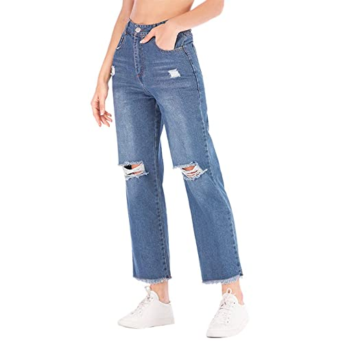 154771e1108 FIRERO Wide Leg Pants Women Girls Ripped Elastic Cropped Jeans Mid Rise  Hole Trousers at Amazon Women's Jeans store