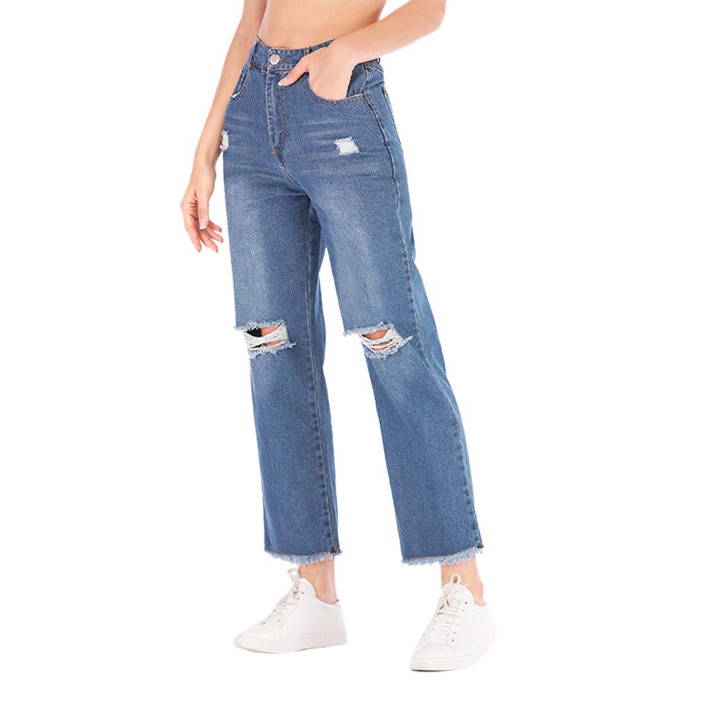 iLUGU Women Autumn Elastic Plus Loose Hole gym shorts for Women Denim Casual Wide Leg Pants Cropped Jeans