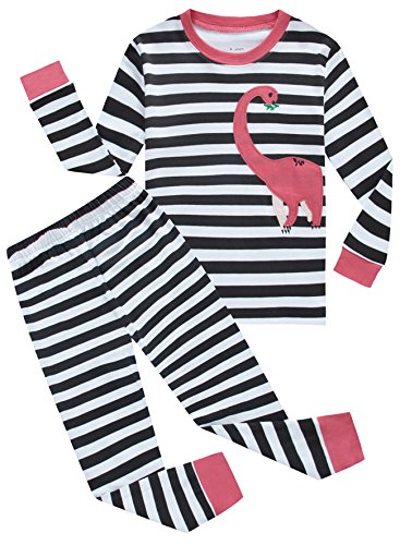 Price comparison product image Family Feeling Dinosaur Little Girls Long Sleeve Pajamas Sets 100% Cotton Pyjamas Kids Pjs Size 5 Striped