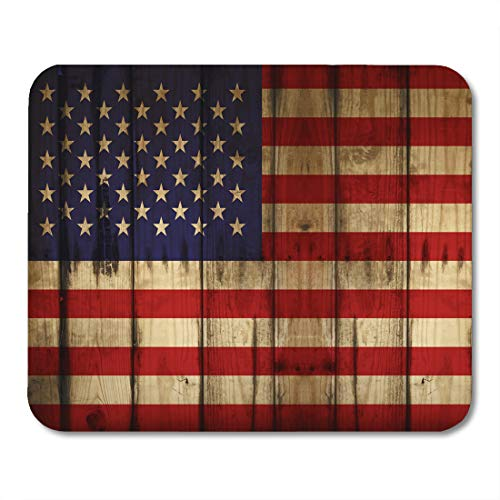 (Emvency Mouse Pads Blue Rustic American Flag USA Wood Red Americana America Antiqued Mousepad 9.5