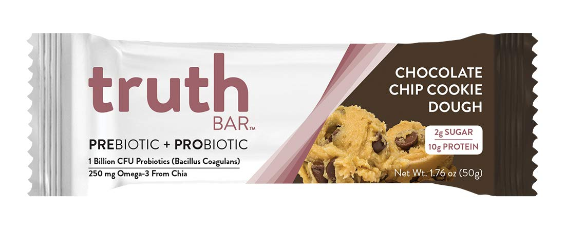 Truth Bar (Prebiotic + Probiotic) - Chocolate Chip Cookie Dough (12 Pack) - Low Sugar, Gluten Free, High Fiber, 10g of Protein, Non-GMO, Soy Free, Kosher, Nutrition Snack Bar by Truth Bar