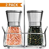 Salt & Pepper Grinder Set of 2-5 Oz Glass Sea Salt and Spice Shakers with BONUS Stand - Adjustable Coarseness Mills – Easy To Clean - Stainless Steel & Ceramic Rotor - BPA Free