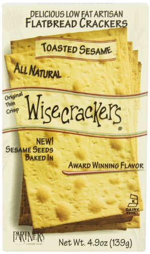 Partners Wisecrackers Low Fat Flatbread Style Crackers, Toasted Sesame, 4.9 -Ounce Boxes (Pack of ()