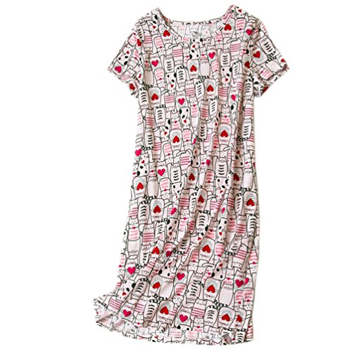 (ENJOYNIGHT Womens Cotton Sleepwear Short Sleeves Print Sleepshirt Sleep Tee (Kitty, XXL))