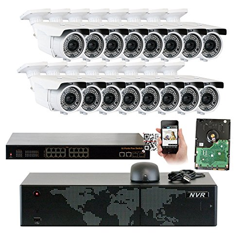5MP (2592x1920p) 16 Channel 1920P NVR PoE IP Security Camera System - 16 x HD 2.8~12mm Varifocal Zoom 196ft IR IP Camera - 5 Megapixel (3,000,000 more pixels than 1080P, 300% more detailed than 720P)