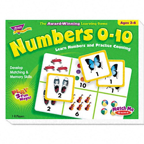 TREND Products - TREND - Numbers 0-10 Match Me Puzzle Game, Ages 3-6 - Sold As 1 Each - Award-winning game. - Game plays three ways. - Uses matching, memory and word/picture skills. - Includes eight two-sided game boards and 48 cards. - 1-8 players. by TREND Products
