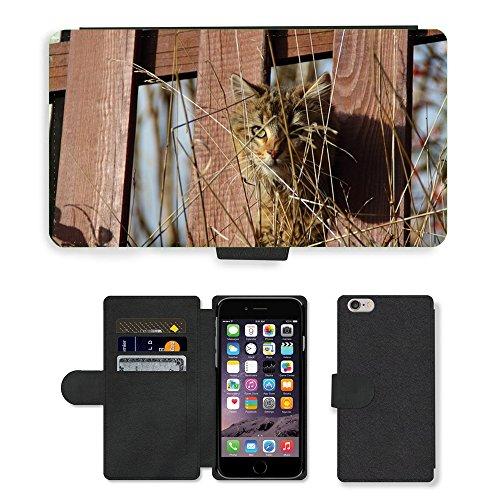 "Just Phone Cases PU Leather Flip Custodia Protettiva Case Cover per // M00127999 Cat Kitten Voir Animal Clôture Eye // Apple iPhone 6 PLUS 5.5"""