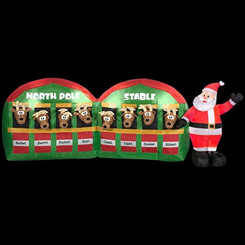 Inflatable Santa And Reindeer (NEW Christmas 11' Inflatable Santa With Reindeer In North Pole Stable Outdoor Lawn)