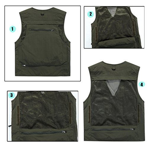 PHerMAN Men's Multi-pockets Sleeveless Jackets Outdoors Travels Sports Vest Tops