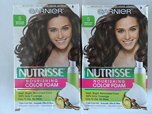 Garnier Nutrisse, Nourishing Color Foam, 5, Medium Brown, (Pack of 2) ()