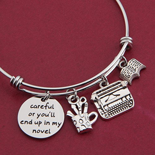 Gzrlyf Writer Bracelet Author Bracelet Writer Gift Novelist Gift Careful Or Youll End Up In My Novel Jewelry Writing Gift Author Jewelry (Writer bracelet) by Gzrlyf (Image #3)
