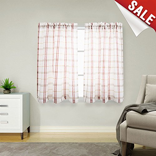 White Tier Curtains for Kitchen, Red and Taupe Check on White Sheer Curtains Classic Buffalo Checkered Gingham Linen Textured Cafe Curtains 45 inches Long Sold by Pair
