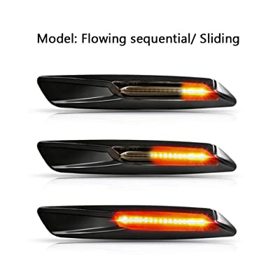 Gempro 2Pcs Sequential Amber LED Side Marker Turn Signal Light for BMW 1 3 5 Series E81 E82 E87 E88 E90 E91 E92 E93 E60 E61, Smoke Lens Style Black: Automotive