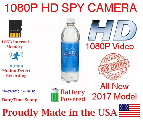 ALL NEW!!! SecureGuard Battery Powered 1080P Water Bottle Spy Camera Hidden Bottled Compartment Nanny Cam Covert Camera Home and Law Enforcement Camera Spy Gadget (2017 Model) by AES Spy Cameras