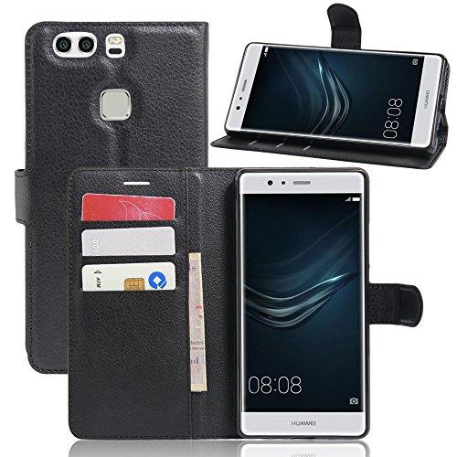 Funzione P9 Pelle Cover Huawei With Portafoglio Pu Chiusura Nero nero Protettiva Jarning Magnetica Plus Wallet Flip Stand Smartphone Custodia Case 5xIOwdYnq