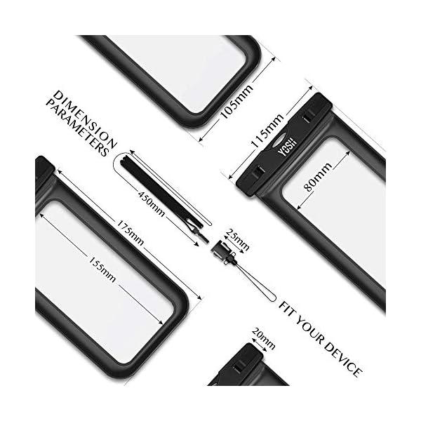 YOSH Funda Impermeable Móvil Universal 2 Unidades, IPX8 Certificado, Bolsa Sumergible para iPhone X 8 7 6s Samsung J5 J3 J7 S8 S9 Huawei P20 P10 P9 y Otros Móviles hasta 6.3 Pulgadas 5