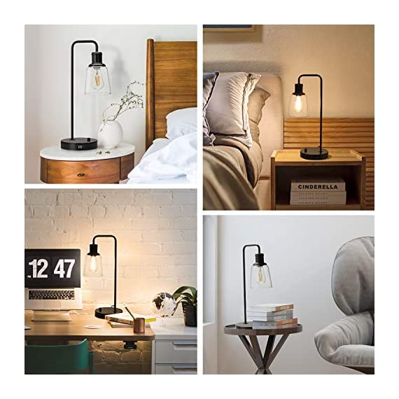 Industrial Table Lamp, Vintage Nightstand Lamp with Dual USB Ports Antique Office Lamp Glass Shade Metal Desk Reading Lamp for Bedroom, Living Room, Dorm, 6W 2700K Dimmable LED Edison Bulb Included - 【Dimension】Height: 20.3in, base diameter: 7.1inch, Weight: 3.72Ib. Please read more size information on the second photo carefully before purchase. The dimmable table lamp can be used as bedside table lamp, reading lamp, office lamp, nightstand table lamp, dorm room lamp. 【6W Dimmable LED Bulb Included】The industrial table lamp comes with a ST58 dimmable LED Vintage Bulb in the package. With a rotary switch on the base, the 2700K filament bulb can be adjusted to desired brightness, providing a glare free, non-flickering and natural lighting for reading, working and studying. 【Integrated Dual USB Port】Our side table lamp with USB ports can charge two devices, such as kindle readers, iPhone and tablets at the same time. The USB port functions regardless of whether the lamp is on or off. Note: If you charge two devices simultaneously, the total current of two charging ports is 2.1A. - lamps, bedroom-decor, bedroom - 51qv3hgfenL. SS570  -