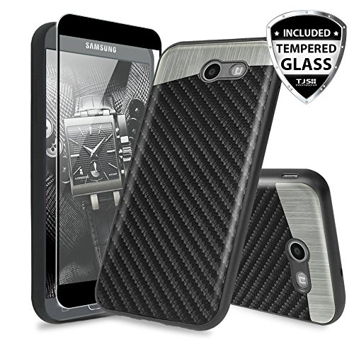TJS Samsung Galaxy J3 Emerge/J3 Prime/Amp Prime 2/Express Prime 2/Sol 2/J3 Mission/J3 Luna Pro/J3 Eclipse Case, with [Tempered Glass Screen Protector] Carbon Fiber Built-in Metal Plate Back Case