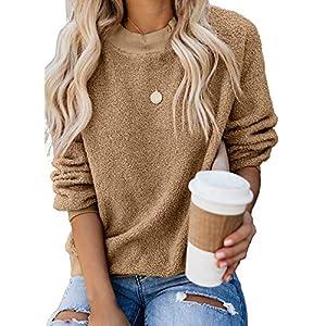 Dokotoo Womens Autumn Fashion Crewneck Ribbed Long Sleeve Casual Plain Solid Fluffy Fleece Sweatshirt Pullovers Tops…