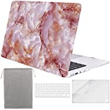 Sykiila for MacBook Air 11 Inch Case Hard Cover 4 in 1 HD Screen Protector Film + TPU Keyboard Cover + Sleeve Protective Folio Case for Air 11'' Model: A1370 / A1465 - Pink Marble
