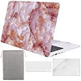 Sykiila - Compatible with MacBook Air 11 Inch Case Hard Cover 4 in 1 HD Screen Protector Film + TPU Keyboard Cover + Sleeve Protective Folio Case for Air 11'' Model: A1370 / A1465 - Pink Marble