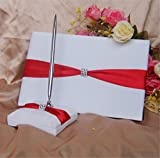 Yiwa 5-Piece Rhinestone Heart Guest Book Set with Pen Wedding Ring Pillow/Flower Girl Basket and 2 Garters