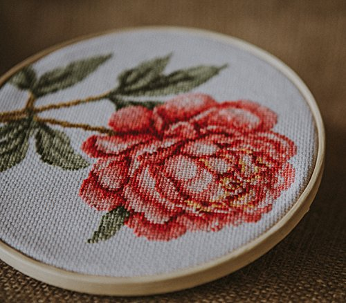 Povitrulya Counted Cross Stitch Kit 'Pink Peony' Flowers, 5.1