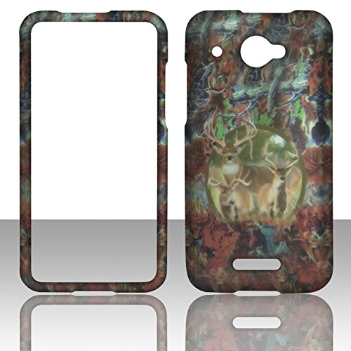 (2D Camo Triple Deer HTC DROID DNA 4G LTE X920E Verizon Hard Case Snap-on Hard Shell Protector Cover Phone Hard Case Case Cover Rubberized Frosted Matte Surface Hard Shells)