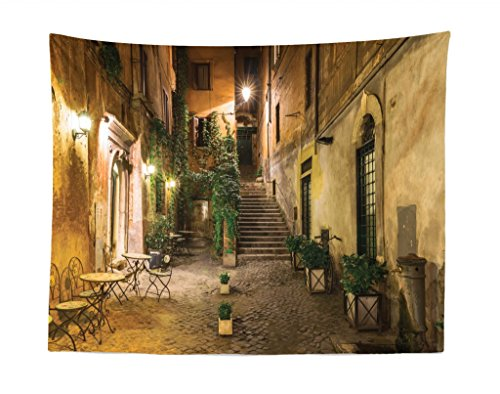 Lunarable Cityscape Tapestry, Courtyard Night View with Street Cafe Chairs Plants in Flowerpots Rome Print, Fabric Wall Hanging Decor for Bedroom Living Room Dorm, 28