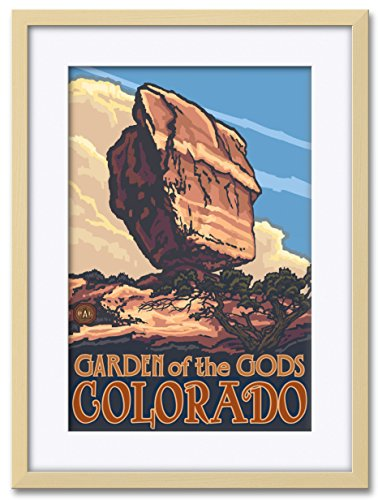 Northwest Art Mall Balanced Rock Garden Of The Gods Colorado Professionally Framed & Matted Giclee Travel Art Print by Paul A. Lanquist. Print Size: 12