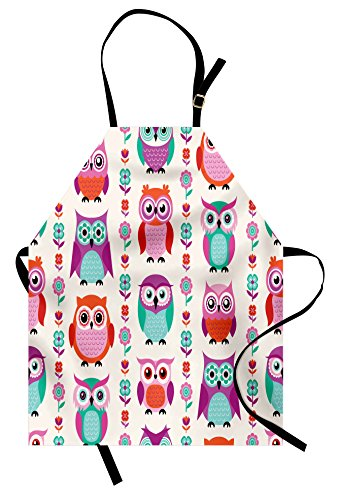 Ambesonne Owls Apron, Adorable Owls in Vertical Line Flower Strings Vibrant Spring Colors Art, Unisex Kitchen Bib Apron with Adjustable Neck for Cooking Baking Gardening, Orange Fuchsia Seafoam ()