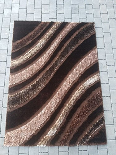 Shiny Brown Stripe (Spica Home 5'2 by 7'2 Decorative High Pile Shiny Bright Shaggy European Modern Area Rug, Great Quality, Cozy, Pet-Friendly (RED) (5'2'' x 7'.2'', BROWN STRIPE))