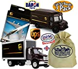 ups pullback package car - Matty's Toy Stop Daron UPS (United Parcel Service) Box Truck, Package Truck & Plane Deluxe Gift Set Bundle with Exclusive Storage Bag - 3 Pack