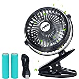 Stroller Fan USB Clip Fan ARW Battery Operated Fan Mini Desktop Fan Portable with Strong Airflow and 2 Rechargeable 18650 Lithium Batteries for Baby Stroller Camping Traveling (Black)