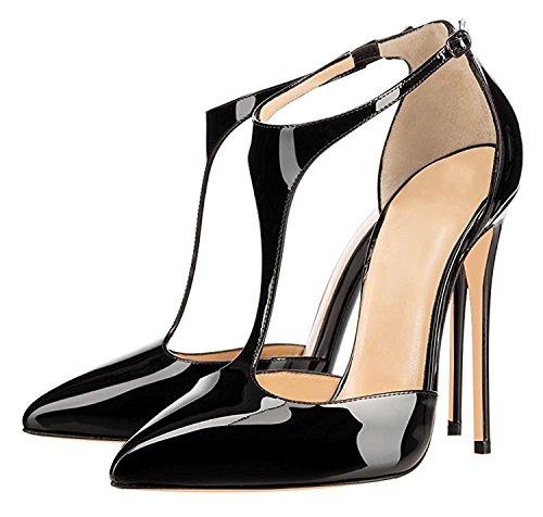 Soireelady Womens Ladies T-strap High Heels 12CM Pointed Toe Court Shoes Black wb2ODU