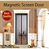 UINSTONE Magnetic Screen Door, sewed with 28 POWERFUL magnets, FULL LENGTH Velcro straps and HEAVY DUTY TOUGH mesh