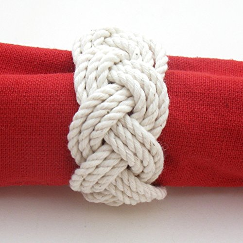 Christmas Tablescape Decor - Handmade nautical sailor knot natural white napkin rings - Set of 4 by Mystic Knotwork