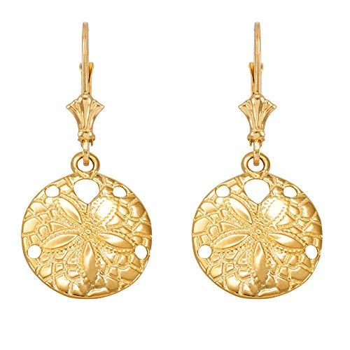10k Yellow Gold Sea Star Sand Dollar Leverback Earrings