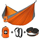 "Nordmiex Double Hammock - Premium Lightweight Portable Parachute Camping Hammock for 2 Persons,With 9' Heavy Duty Tree Straps and Two Aluminum Wiregate Carabiners Included,118""(L) x 78""(W),Grey/Orange"