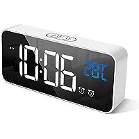 Digital Alarm Clock, with Large Led Temperature Display, Portable Alarm Clock Digital, Snooze Time, Four-Level…