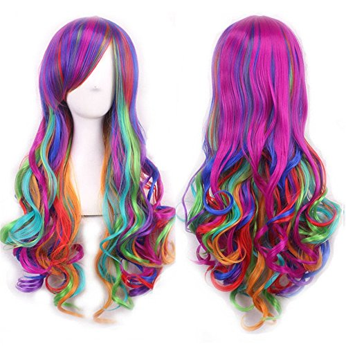 Naked Girls In Halloween Costumes (Mersi Long Rainbow Wig Curly Wavy Cosplay Wigs for Women Colorful Costume Wigs 27 Inch with Wig Cap (Rainbow))