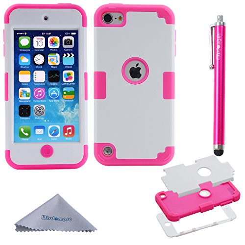Wisdompro 3-Piece [3 in 1] Hybrid Shockproof [Soft Internal Silicone and Hard Shell] Case Cover for Apple iPod Touch 6th/5th Generation-Hotpink/White ()