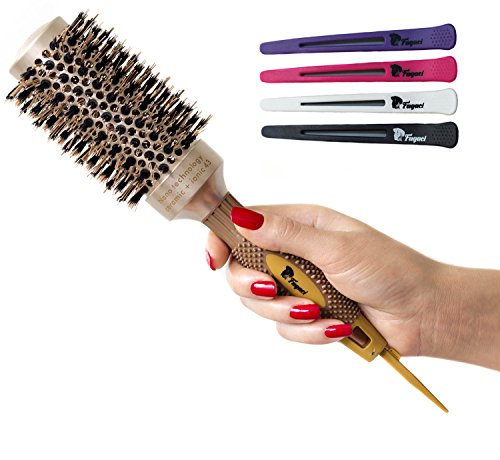 Fagaci Round Brush for Blow Drying with Natural Boar Bristle, Professional Round Hair Brush Nano Technology Ceramic + Ionic for Hair Styling, Drying, Healthy Hair and Add Volume + 4 Styling Clips by Fagaci (Image #7)