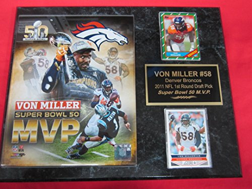 Von Miller Denver Broncos 2 Card Collector Plaque  1 W 8X10 Super Bowl Mvp Photo