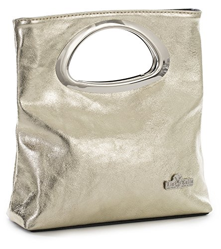 RHEA Leather Small Italian Top Gold Foldable Metallic Plain Bag Suede LIATALIA Purse Evening Handle Clutch 7C5Znx
