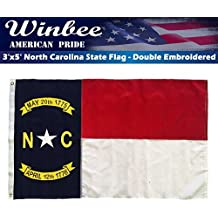 Winbee North Carolina State Flag - Double Sided Embroidered, Long Lasting 300D Nylon, Sewn Stripes and Brass Grommets, UV Protected, Best US North Carolina NC Flag
