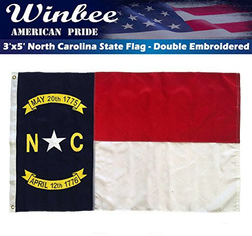 Winbee North Carolina State Flag - Double Sided Embroidered,